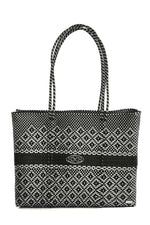 BLACK GRAY TRAVEL TOTE BAG WITH CLUTCH