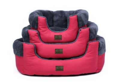 red pet bed stacked