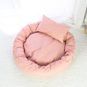 Round Cotton Pet Lounger Bed