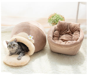 Brown beige honey pot pet cat bed with grey stripped cat