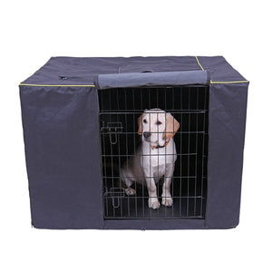 navy dog crate cage cover with dog