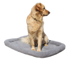 dog sitting on a grey fleece pet bed
