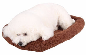 Dog lying on a brown feece pet bed