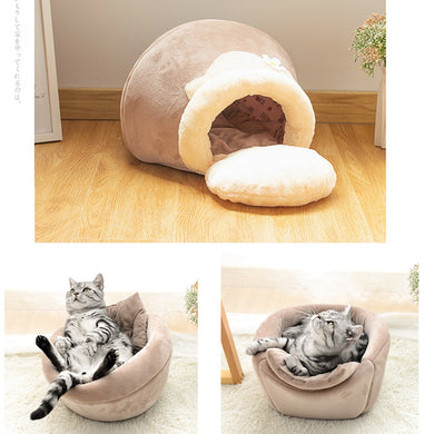 Honey pot cat bed with two cats underneath