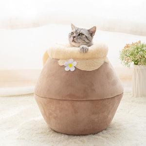Brown beige honey pot pet cat bed