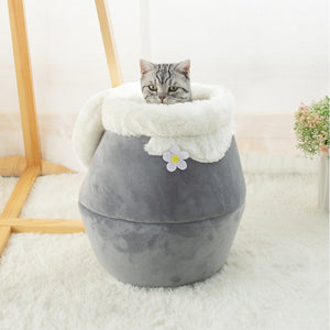 Grey honey pot pet cat bed