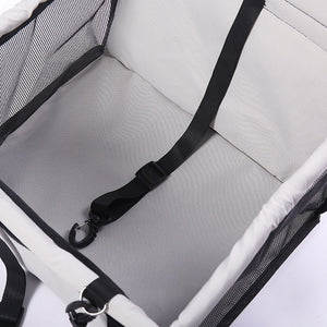Close up of grey puppy dog car seat