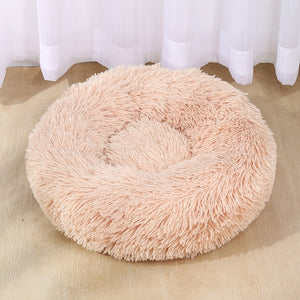 Beige pet bed on wood floor