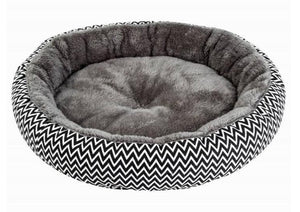 Round Cosy Pet Bed - Available in ZigZag or Leopard Fabric