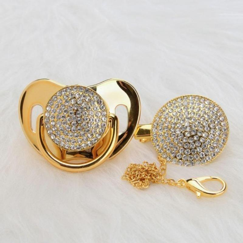 Bling Gold Pacifier & Clip Set - zohargift