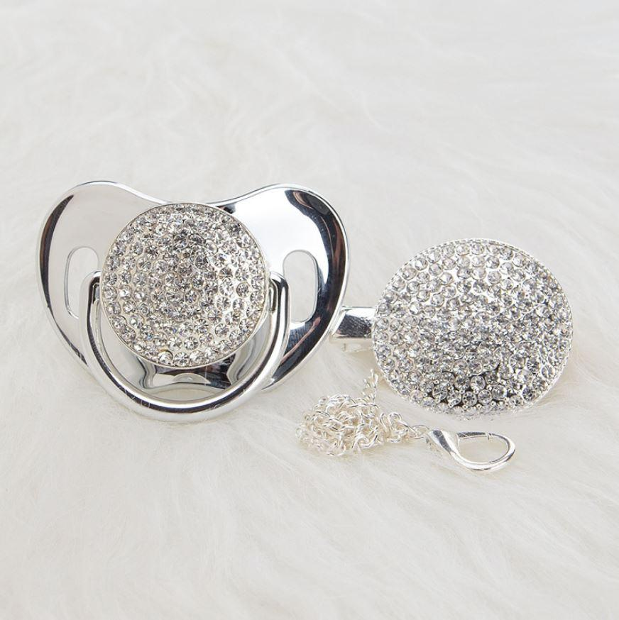 Bling Silver Pacifier & Clip Set - zohargift