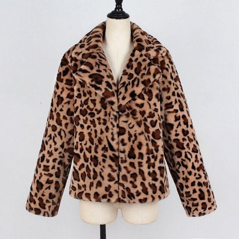 Autumn Winter jacket 2020 Women's Faux fur leopard coat plush cotton jacket for women loose coats outwear female jacket coat