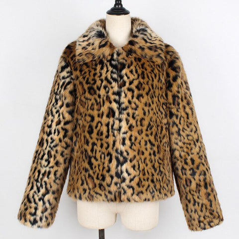 Faux Fur Coat Leopard Size Plus Fashion Women Short Jacket Faux Fur Outwear Covered Button Winter Warm Lady Slim Faux Fur Coat