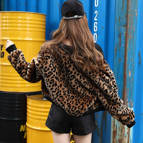 Autumn Winter Women Fur Leopard Jacket Haining Fur Short Coat Female 2018 Clothing