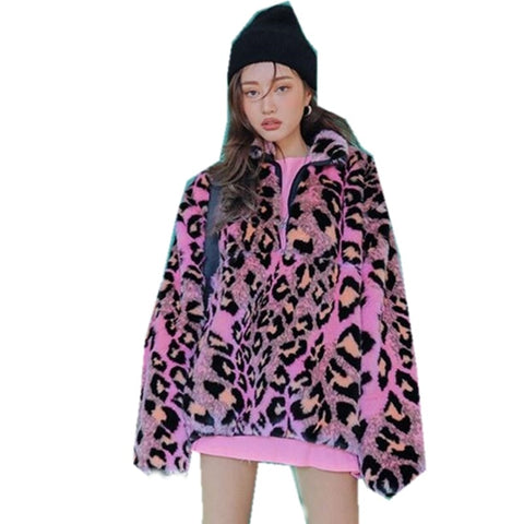 2020 Winter Stand Collar Hairy Shaggy Faux Fur Leopard Hoodies Vintage Long sleeve Furry Faux Fur Women Sweatshirt Outerwear