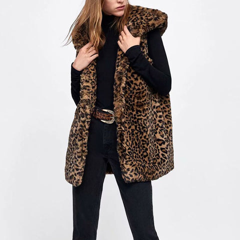 Women-s Faux Fur Hooded Waistcoat-s Leopard Long Vest Autumn Animal Printed Slim Colete Girls Winter Warm Vintage Brown Jackets