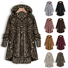 Leopard Coat warm Fluffy Women Winter Top Button Loose fur jacket Reversible plush plus size Outwear Washed Loose Clothing