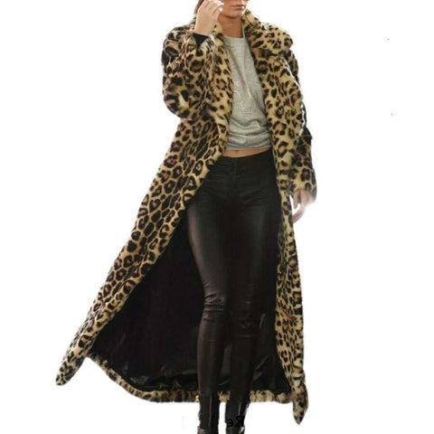 Autumn Winter Women Faux Fur Leopard long coat Elegant Cotton Parka Coat Women Warm fur plush coat Casual Slim Jacket Coat