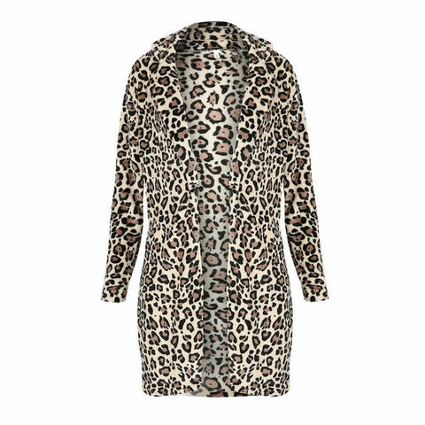 Hot Fashion Women Leopard Faux Fur Coat Lady Long Sleeve Turn-down Collar Winter Keep Warm Long Cardigan Outwear Plus Size
