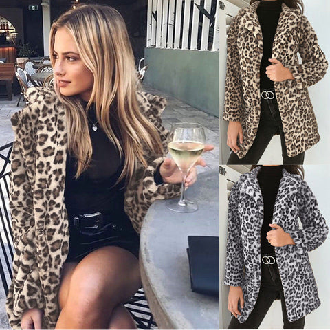 Newest Hot Womens Autumn Winter Leopard Fluffy Fleece Jacket Coat Cardigans Hooded Jumper Tops Clubwear