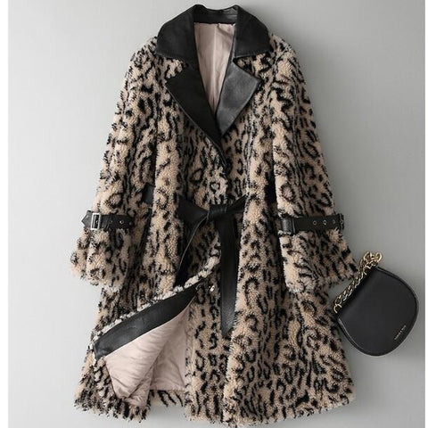 Winter luxurious Leopard faux fur coats jackets stand collar casual winderbreaker female thick fur outwear fake fur colthes F171