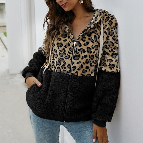 Women Winter Coat Top Long Sleeve Hooded Autumn Warm Jacket Outwear Casual Fashion Leopard Tops Coat Hot Sale S-XL