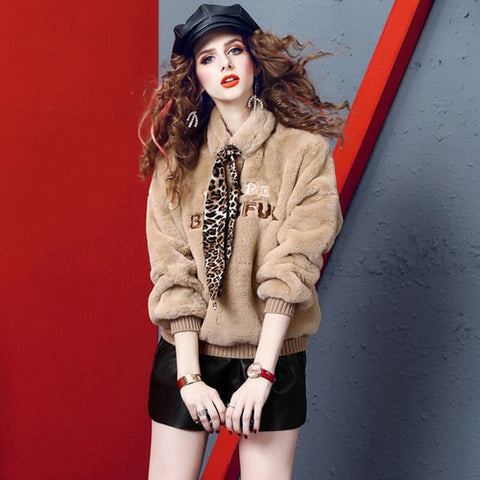 Women Faux Rabbit Fur Coat Autumn Winter Thick Warm Elegant Print Leopard Bow Long Sleeve Top Casual Lady Outwear 2020
