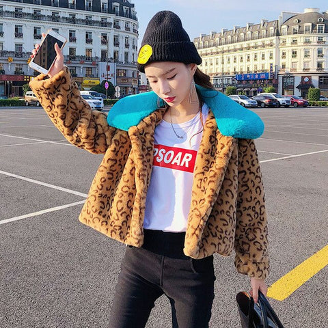 Short Winter Fur Jackets Turn-down Collar Leopard Rex Rabbit Fur Coats Women 2019 Winter Thick Faux Fur Coats And Jackets Coats