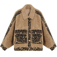 Leopard Print Pocket Women Fluffy Fur Coat Wool Blends 2019 Autumn Winter Jacket Warm Thick Lamb Wool Blend Faux Fur Teddy Coat
