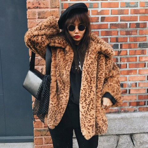 Winter Rabbit Trench Korean Slimming Leopard Print Jacket women Plush faux fur coat Thick Warm Covered Button Turn-down Collar