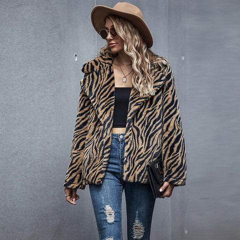 Faux Fur Women Casual Turn-Down Collar Long Sleeve Leopard Print Elegant Fashion Winter Coat Pocket Cardigan Warm Outwear Jacket