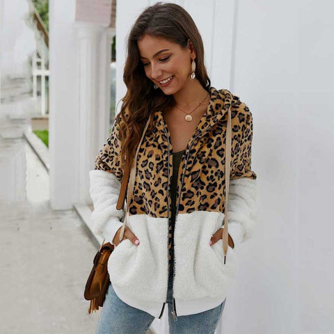 2020 Autumn Leopard Faux Fur Coat Women Teddy Coat Female Leopard Print Plush Teddy Jacket Long Sleeve Fluffy Winter Coat Women
