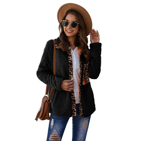 Women Winter Coat Sexy Leopard Print Stand Collar Soft Shell Coat Female Daily Warm Heating Casual Jacket Streetwear Faashion