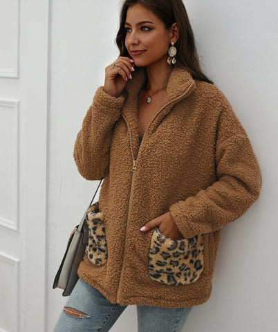 Women's teddy coat coat autumn winter imitation fur zipper coat stitching leopard pocket casual plush coat jacket women casaco
