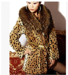 S/9XL Womens Leopard Print Faux Fur Coat Women Casual Raccoon Fur Collar Fashion Man-Made Fur Long Jacket Plus Size Overcoat K18