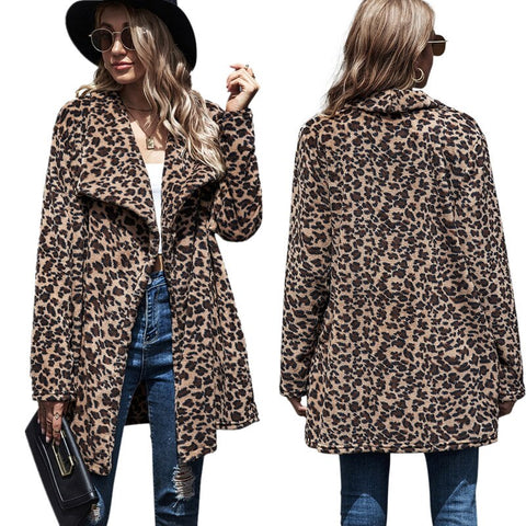 Casual Mid-length Leopard Print Large Lapel Trench Faux Fur Coat Women Winter Warm Plush Teddy Coat Female Pockets Overcoat Coat