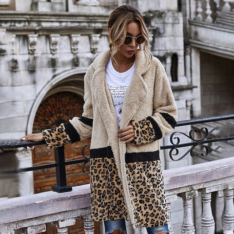 Leopard Fur Fleece jacket Wide-waisted Coat jacket 2020 New Autumn and Winter Coat Flocking Fashion Midi long Woolen Coat Women