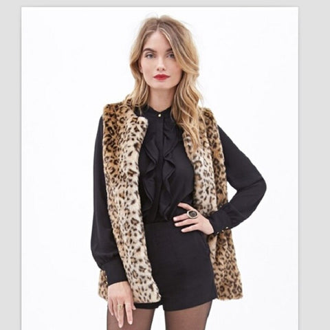 New Middle and Long Style Leopard Print Fur Vest Coat Women Thin Faux Fur Jacket Female V-necked Furs Coats Gilet fur vest