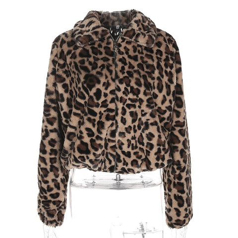 Women Leopard Faux Fur Coat Winter 2019 New Autumn Soft Thick Warm Crop Furry Jackets Women Casual Plush Outwear Coat Plus Size