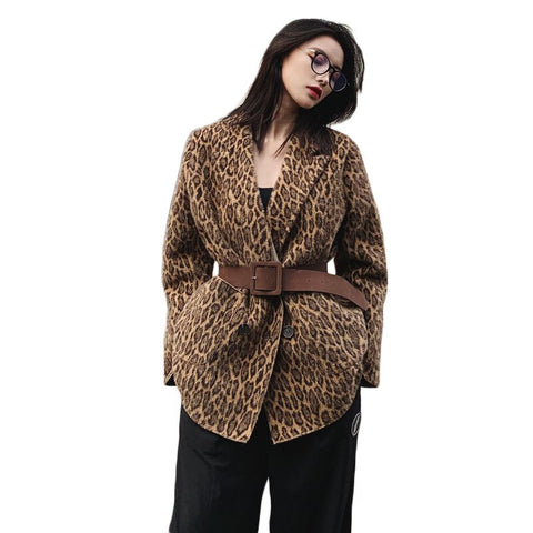 Jacket 2020 New Autumn and Winter Casual Loose Fashion Women Leopard Print Fur Blazer Coat NS2281
