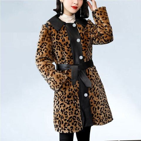 Leopard faux fur coat personality pu patchwork women Fur jackets vintage elegant belt office ladies luxury coats winter outwear