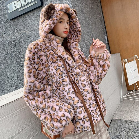 Leopard Print Plush Jacket 2020 Autumn Winter Cute Hooded Bear Ears Imitation Rabbit Fur Fur Cotton Furry Cardigan Teddy Coat