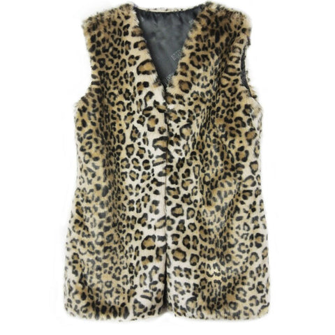 Leopard women winter faux fur vest warm vest female vest jacket large size waistcoat