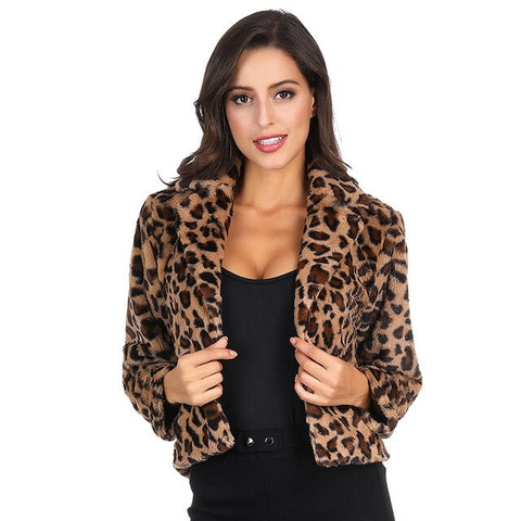 Fluffy Faux Fur Coat Women  Autumn Winter Warm Sexy Leopard Coat Lapel Long Sleeve Loose Short Jacket