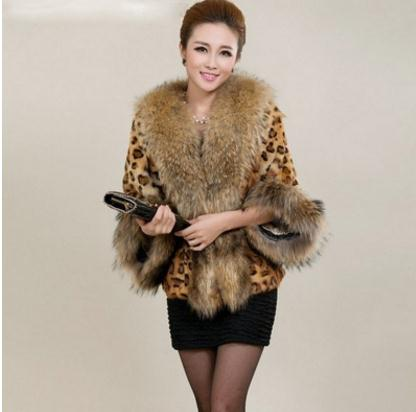 Womens Leopard Print Big Fur Collar Jackets Short Section Winter Autumn Female Fake Fur Coats Large Size Faux Fur Clothes K824