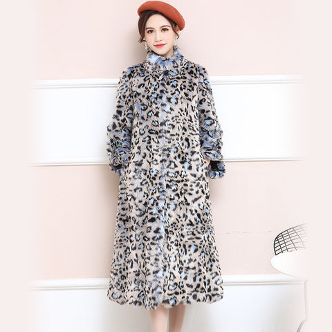 Brand Faux Fur leopard Print Coat Women Long Fluffy Sexy Fake Fur jacket Colorful Plus Size Fur Overcoat 5xl 6xl 7xl