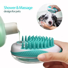 Pet Dog Bath Brush 2-in-1 Pet SPA Massage Comb Soft Silicone Dogs Cats Shower Hair Grooming Cmob Dog Cleaning Tool Pet Supplies