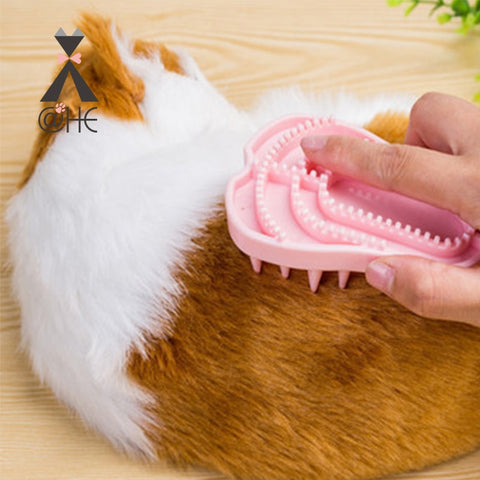 @HE Pet Rubber Brush  New Soft Pink Cat Dog Bath Combs  Dogs Cats Foldable Silicone Massage Tool  Pet Grooming Cleaning Supplies