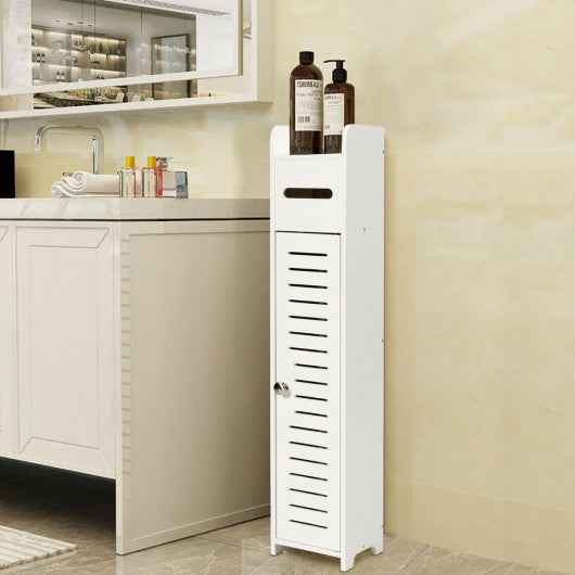 Small Bathroom Storage Corner Floor Cabinet White