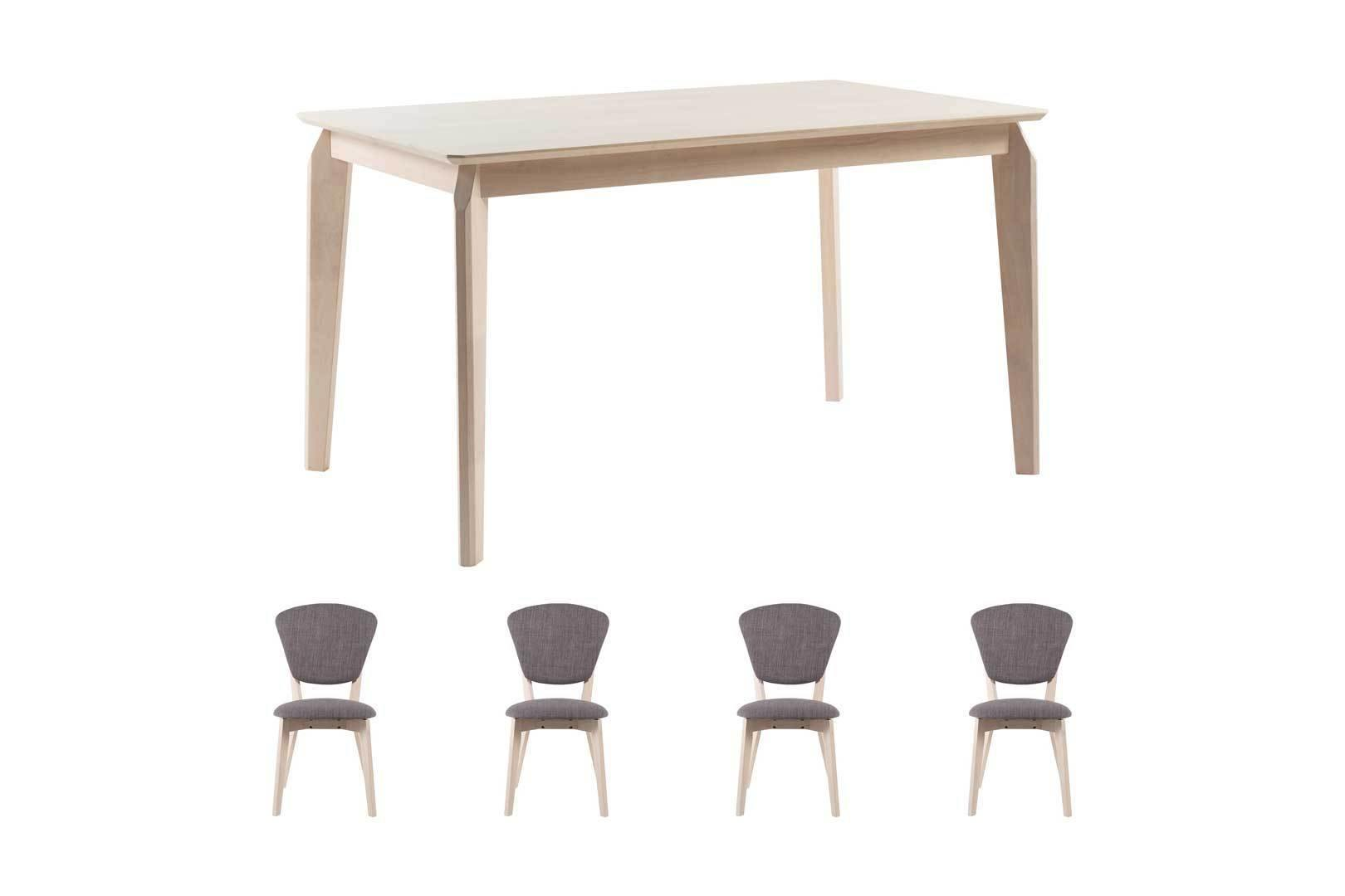 Tara Dining Table with 2 Nathalie Chairs and 1 Usha Bench — Fullhouse